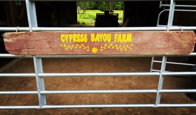 Cypress Bayou Farm sign